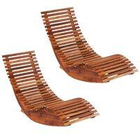 vidaXL Ljuljajuće ležaljke za sunčanje 2 kom od bagremovog drva