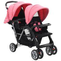 vidaXL Kolica za dvoje djece ružičasto-crna čelična