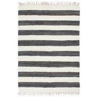 vidaXL Ručno tkani tepih Chindi od pamuka 120 x 170 cm antracit-bijeli
