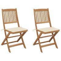 vidaXL Sklopive vrtne stolice s jastucima 2 kom od bagremovog drva
