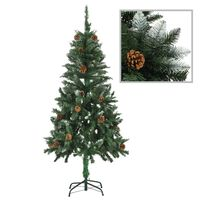 vidaXL Umjetno božićno drvce sa šiškama i bijelim sjajem 150 cm