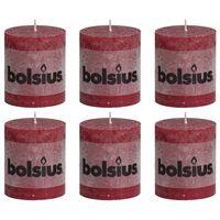Bolsius rustične debele svijeće 6 kom 80 x 68 mm crvena boja vina