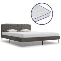 vidaXL Krevet od tkanine s memorijskim madracem tamnosivi 160 x 200 cm