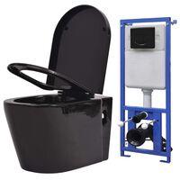 vidaXL Zidna toaletna školjka s ugradbenim vodokotlićem keramička crna