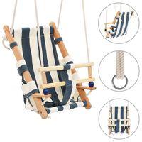 vidaXL Ljuljačka za bebe sa sigurnosnim pojasom od pamuka i drva plava