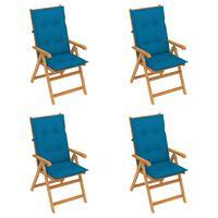 vidaXL Vrtne stolice s plavim jastucima 4 kom od masivne tikovine
