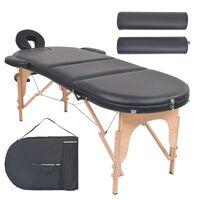 vidaXL Sklopivi masažni stol debljine 4 cm s 2 jastučića ovalni crni