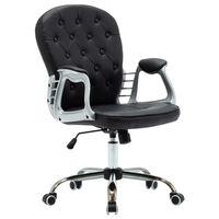 vidaXL Okretna uredska stolica od umjetne kože crna