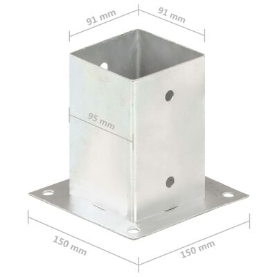 vidaXL Sidra za stupove 4 kom od pocinčanog metala 91 mm
