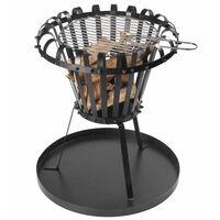 Perel košara za vatru s posudom za pepeo okrugla crna BB650