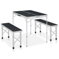 vidaXL Sklopivi stol za kampiranje s 2 klupe aluminijski sivi