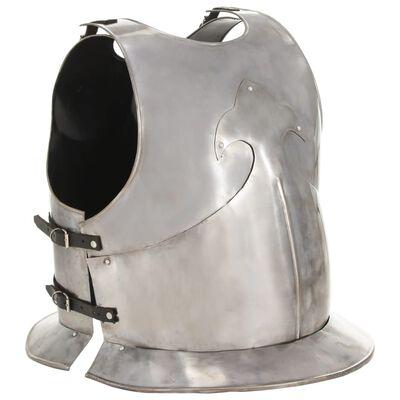 vidaXL Replika srednjovjekovnog viteškog oklopa LARP srebrna čelična