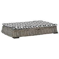vidaXL Krevet za pse s jastukom sivi 95 x 65 x 15 cm od prirodne vrbe