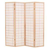 vidaXL Sklopiva sobna pregrada s 4 panela u japanskom stilu 160x170 cm prirodna