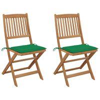 vidaXL Sklopive vrtne stolice s jastucima 2 kom masivno bagremovo drvo