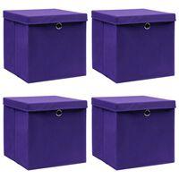 vidaXL Kutije za pohranu s poklopcima 4 kom ljubičaste 32 x 32 x 32 cm
