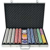 vidaXL Set za Poker s 1000 Laserskih Žetona Aluminijum