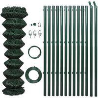 vidaXL Žičana ograda od čelika sa stupovima 1,5 x 25 m zelena