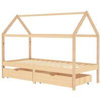 vidaXL Okvir za dječji krevet s ladicama 90 x 200 cm od borovine